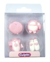 6295  CULPITT: SUGARDEC-PIPING-BABY-PINK-12PCE-RP-28mm - PACK SIZE: 1