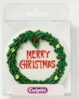 6145  CULPITT: SUGARDEC-XMAS WREATH-RD-75mm - PACK OF 1