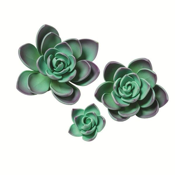 SUGARFLAIR: GUMPASTE-PURPLE SUCCULENTS-38, 55 & 89mm