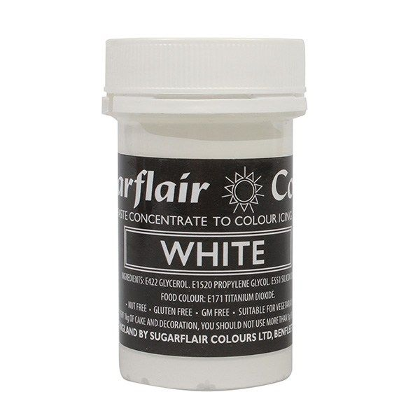 SUGARFLAIR: COLOUR-PASTEL PASTE-WHITE-25g
