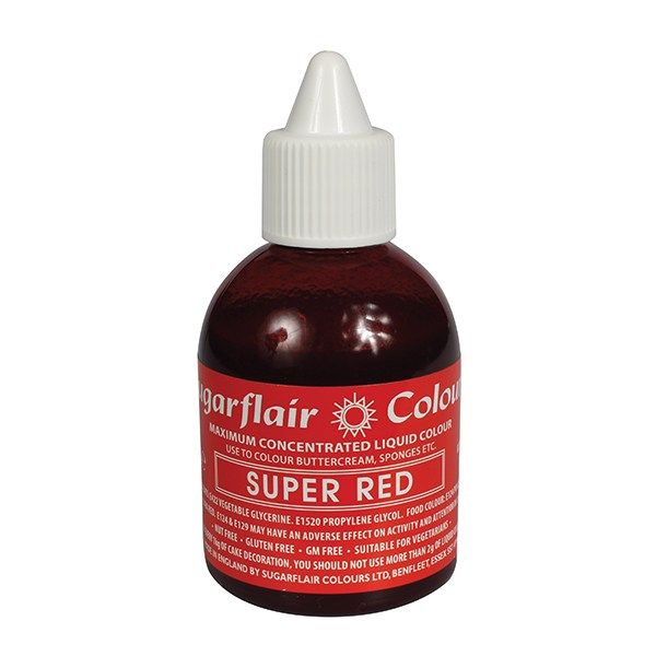 SUGARFLAIR: COLOUR-MAXIMUM LIQUID-SUPER RED-60ml
