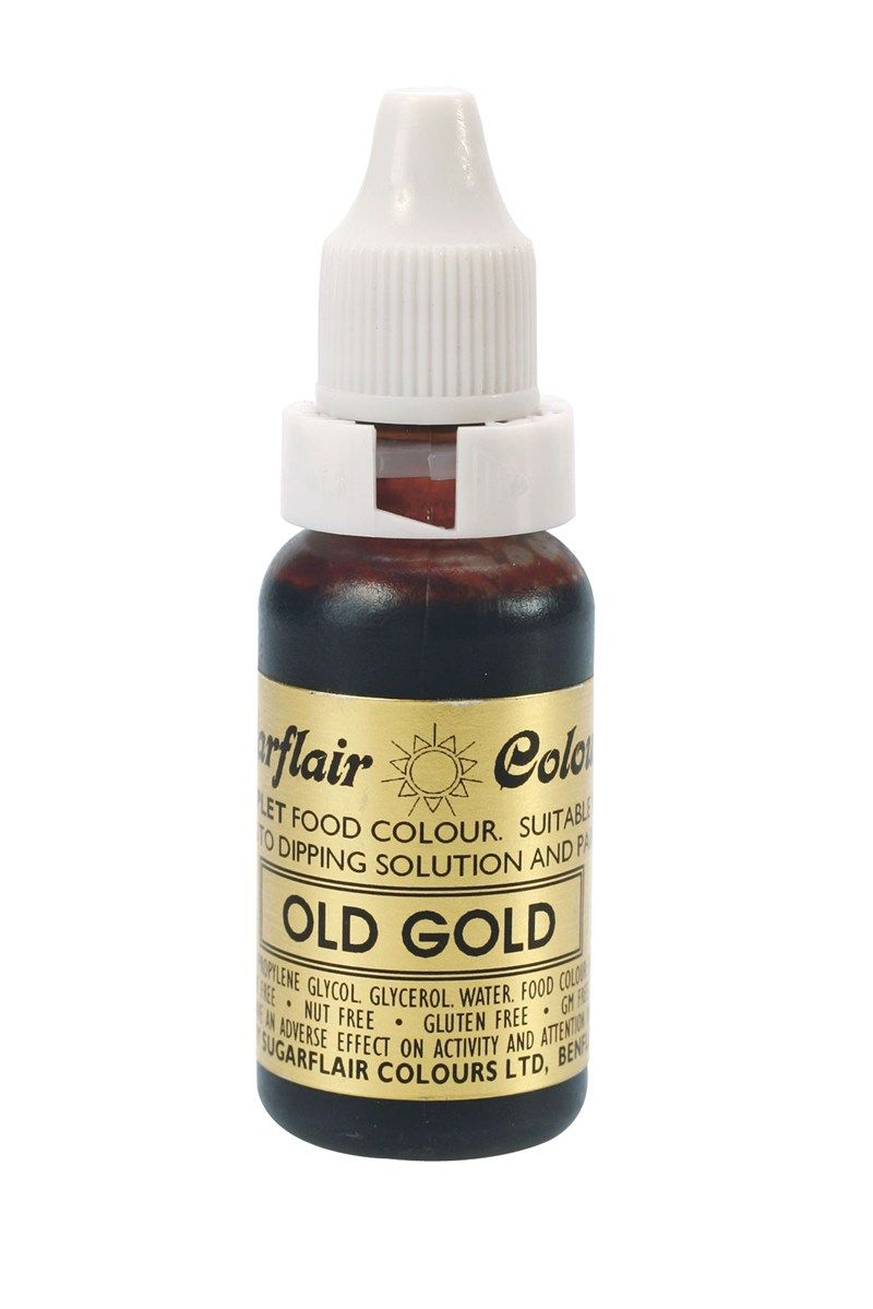 SUGARFLAIR: COLOUR-SUGAR TINT LIQUID-OLD GOLD-14ml