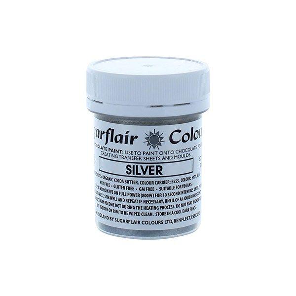 COLOUR-SUGARFLAIR-CHOC PAINT-SILVER-35g