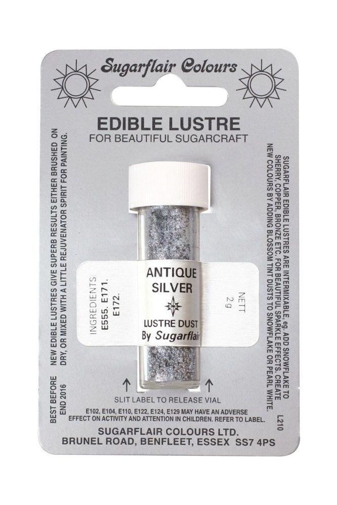 Sugarflair Edible Lustre Colour - Antique Silver. 54405