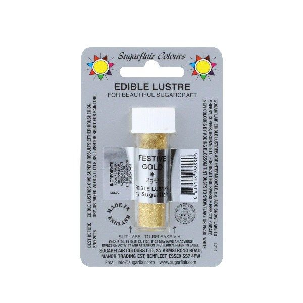 COLOUR-SUGARFLAIR-LUSTRE-FESTVE GLD-2ml