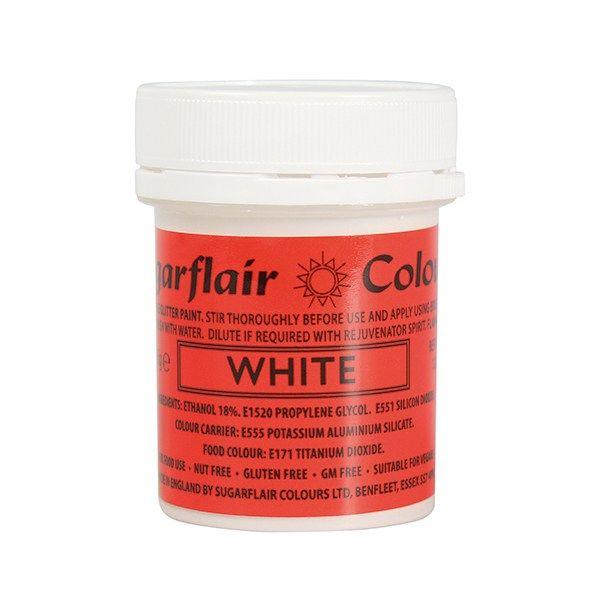 COLOUR-SUGARFLAIR-GLITTER PAINT-WHIT-35g