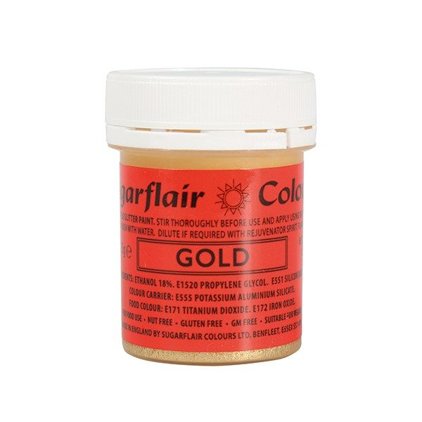 COLOUR-SUGARFLAIR-GLITTER PAINT-GOLD-35g