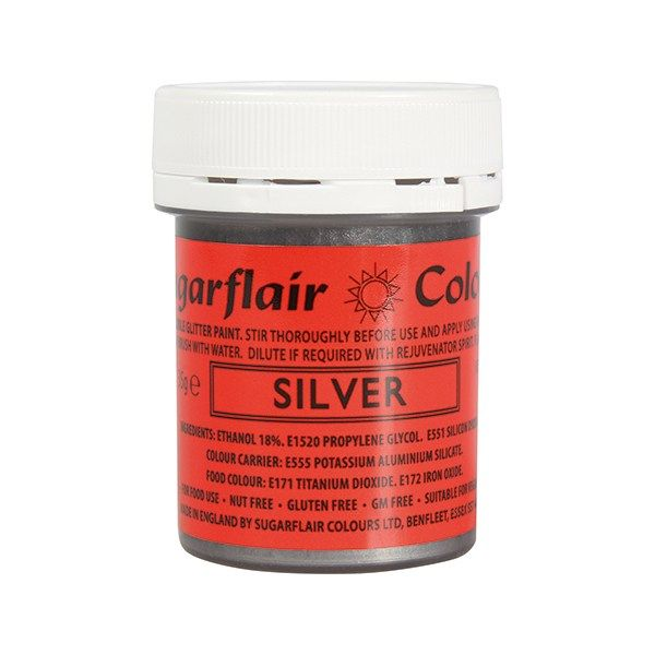 COLOUR-SUGARFLAIR-GLITTER PAINT-SILV-35g