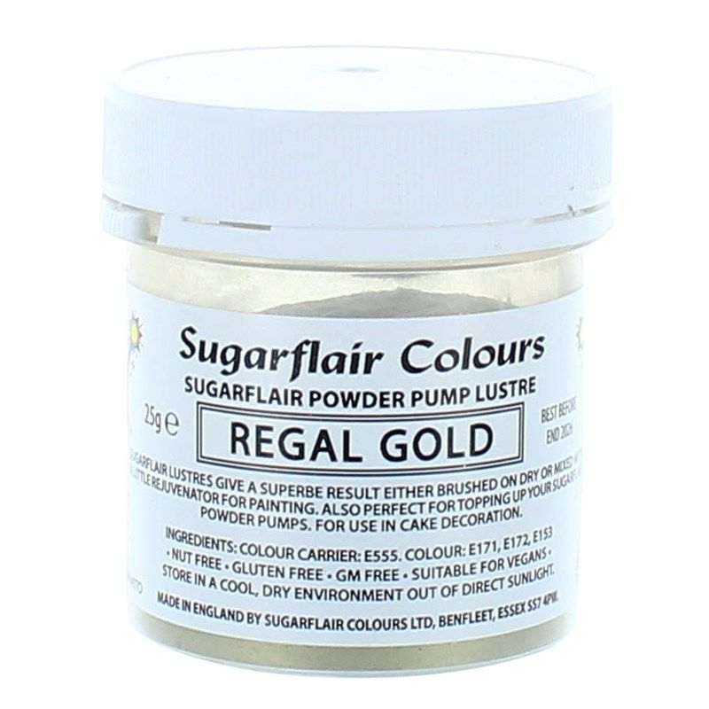 COLOUR-SUGARFLAIR-LUSTRE-REGAL GOLD-25g