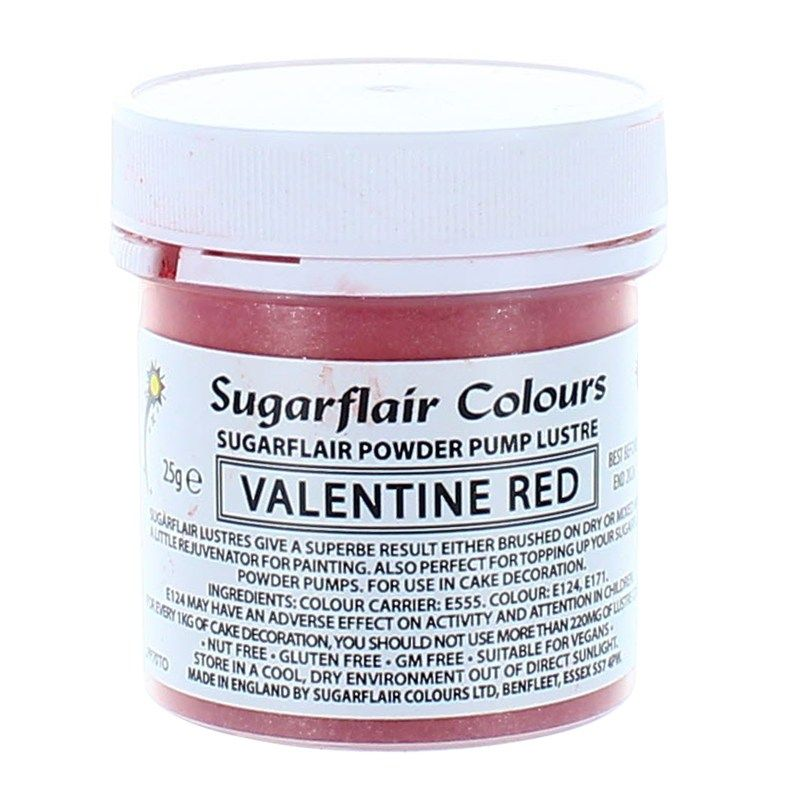 COLOUR-SUGARFLAIR-LUSTRE-VAL/TIN RED-25g