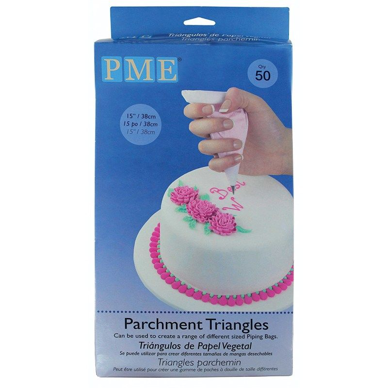"""PME Parchment Paper Triangles - 15"""" - Pack of 50. 800023"""