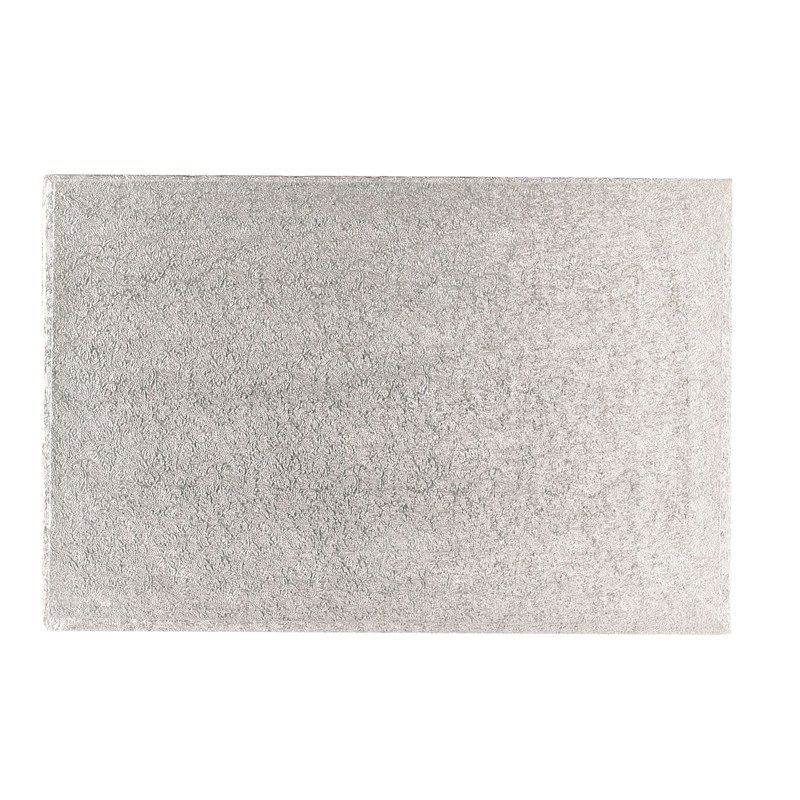 """CULPITT 12"""" x 10"""" (304 x 254mm) Double Thick Rectangle Turn Edge Cake Cards Silver Fern (3mm thick) - PACK OF 25. DTS12X10"""