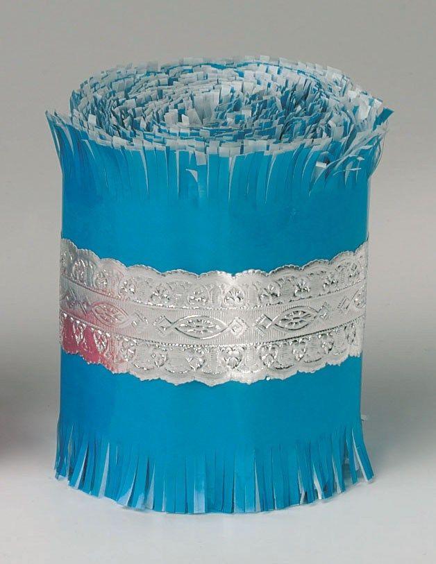 CULPITT: FRILL-SILVER LACE CENTRE-BLUE-83mmx7.3m
