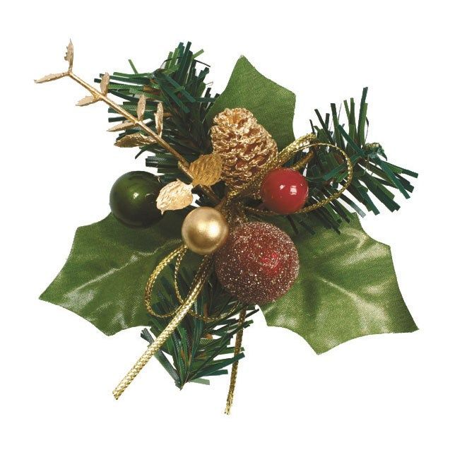 CULPITT Paper Red and Gold Holly and Bauble - 70mm - PACK OF 50. H195