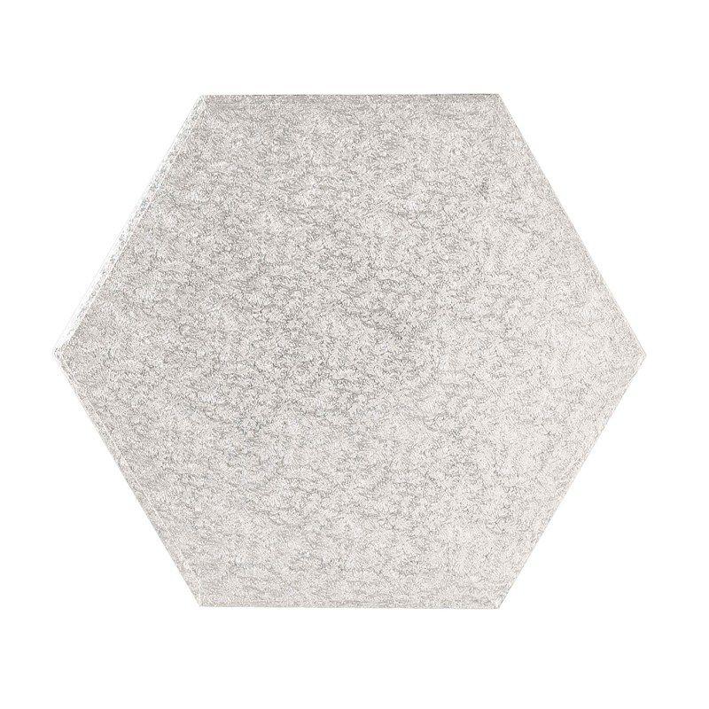 """CULPITT 8"""" (203mm) Cake Board Hexagonal Silver Fern - PACK OF 5. HEX8"""