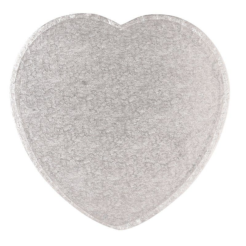"""CULPITT 15"""" (381mm) Cake Board Heart Silver Fern - PACK OF 5. HRT15"""