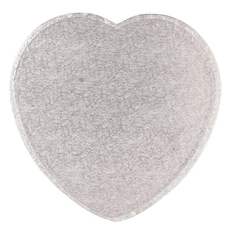"""CULPITT 9"""" (228mm) Cake Board Heart Silver Fern - PACK OF 5. HRT9"""