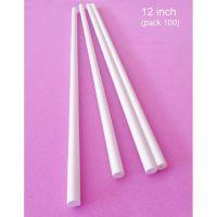 "Pullingers pk 100 x 12"" WHITE cut edge cake pillar dowel rods"