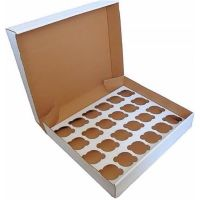 """Reynards 5 WHITE heavy duty cupcake boxes & inserts 3"""" deep - hold 24"""