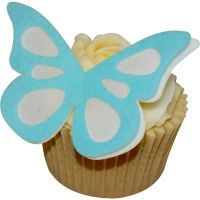 CDA Wafer Paper Pack of 12 (24 parts) Large Shadow Butterflies - Baby Blue on White