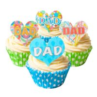 Mixed Pack of 12 Edible Wafer Decorations - DAD - Celebration Heart Toppers