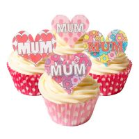 Mixed Pack of 12 Edible Wafer Decorations - MUM - Celebration Heart Toppers