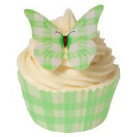 CDA Wafer Paper Pack of 12 Green Gingham Design Butterflies