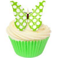 CDA Wafer Paper Pack of 12 Lime Green Polka Dot Butterflies