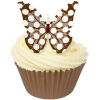 CDA Wafer Paper Pack of 12 Chocolate Polka Dot Butterflies
