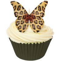 CDA Wafer Paper Pack of 12 Leopard Skin Design Edible Wafer Butterflies