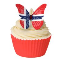 CDA Wafer Paper Pack of 12 Norwegian Flag Butterfly