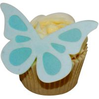CDA Wafer Paper Pack of 12 (24 parts) Large Shadow Butterflies - White on Baby Blue