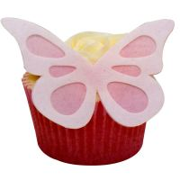 CDA Wafer Paper Pack of 12 (24 parts) Large Shadow Butterflies - White on Baby Pink