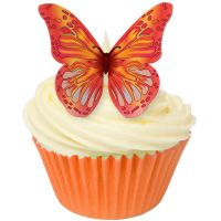 CDA Wafer Paper Pack of 12 Edible RED & ORANGE wafer butterflies