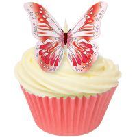 CDA Wafer Paper Pack of 12 Edible RED butterflies