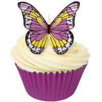 CDA Wafer Paper Pack of 12 Edible PURPLE & YELLOW wafer butterflies