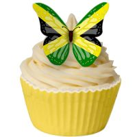 CDA Wafer Paper Pack of 12 Jamaican Flag Butterfly