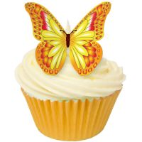 CDA Wafer Paper Pack of 12 Edible ORANGE, YELLOW & RED butterflies