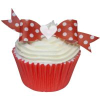 CDA Wafer Paper Pack of 10 Red Polka Dot Bow