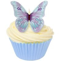 CDA Wafer Paper Pack of 12 Edible LILAC & BABY BLUE wafer butterflies