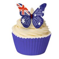 CDA Wafer Paper Pack of 12 Australian Flag Edible Wafer Butterflies