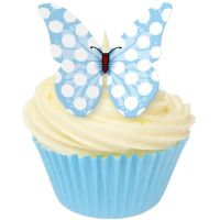 CDA Wafer Paper Pack of 12 Baby Blue Polka Dot Butterflies