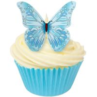 CDA Wafer Paper Pack of 12 Edible BLUE butterflies