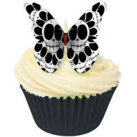 CDA Wafer Paper Pack of 12 Skull Design Edible Wafer Butterflies