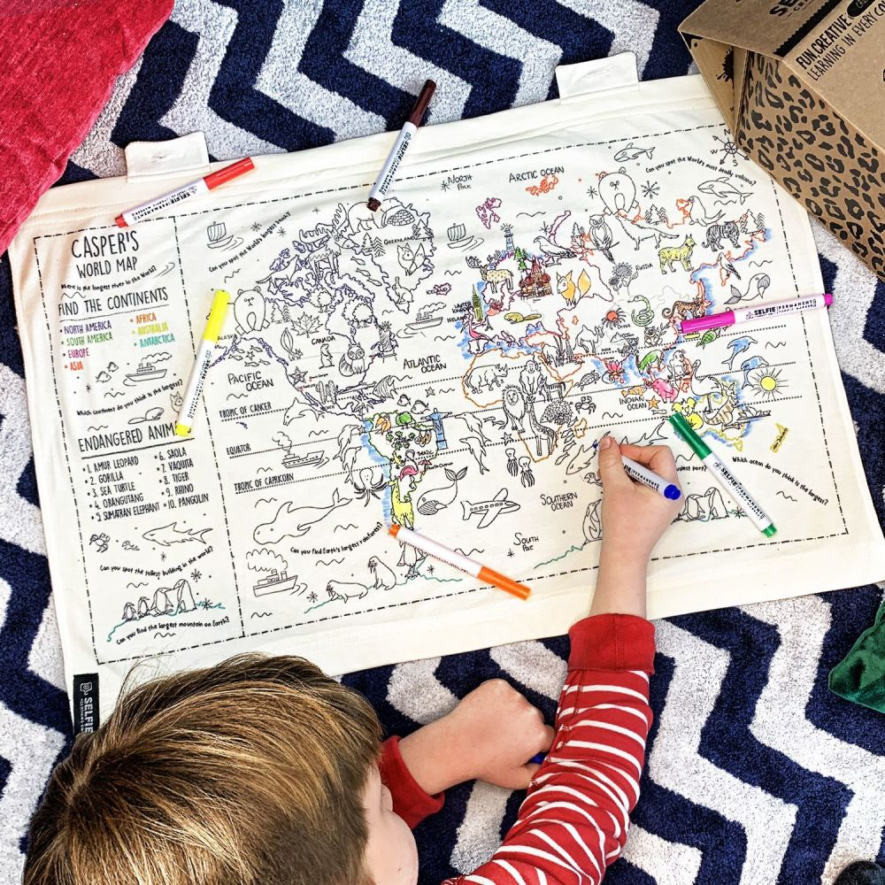 Selfie Clothing: Personalised Colour Your Own World Map Fabric Wall Art