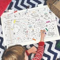 Selfie Clothing: Personalised Colour Your Own Solar System Fabric Wall Art