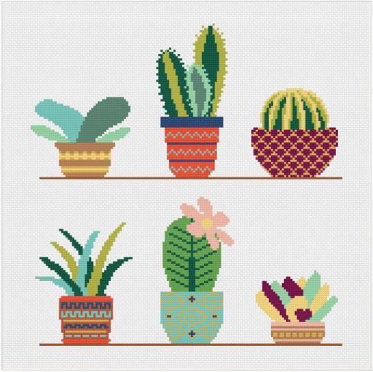 Meloca Cross Stitch Kit Designs: Cactus Cross Stitch Full Kit #2
