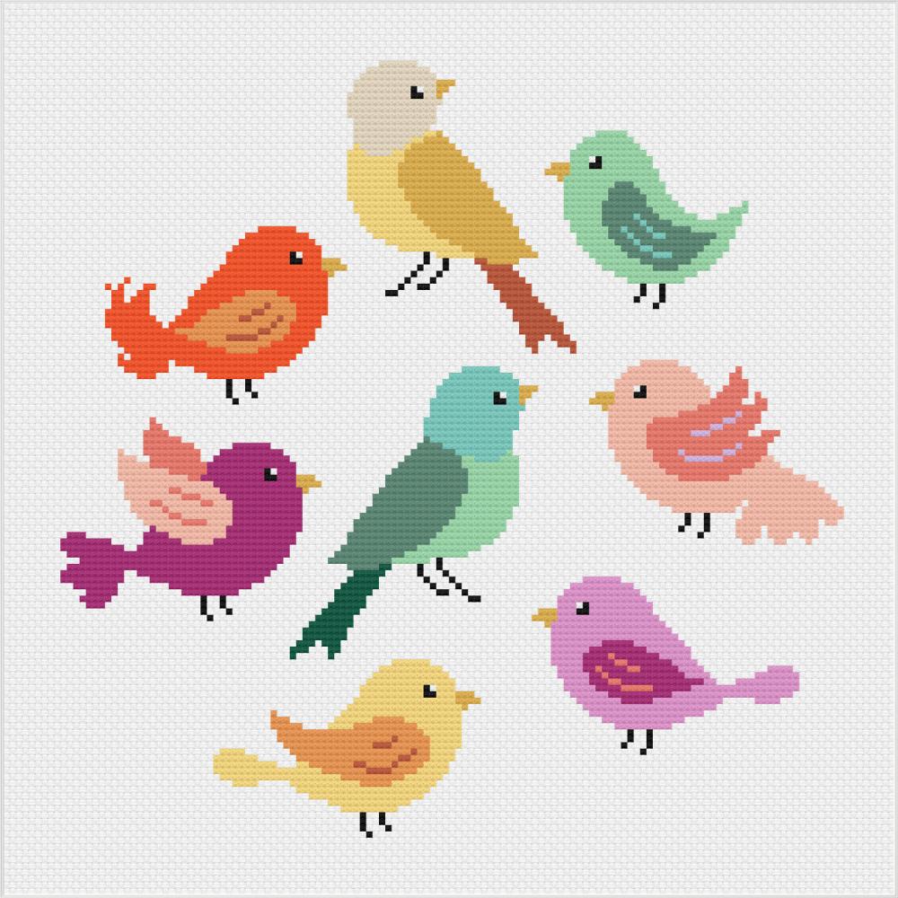 Meloca Cross Stitch Kit Designs: Bird Cross Stitch Full Kit #1