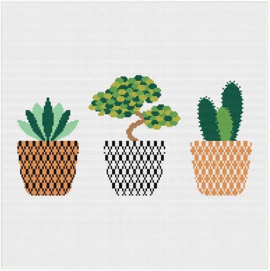 Meloca Cross Stitch Kit Designs: Cactus Cross Stitch Full Kit #4