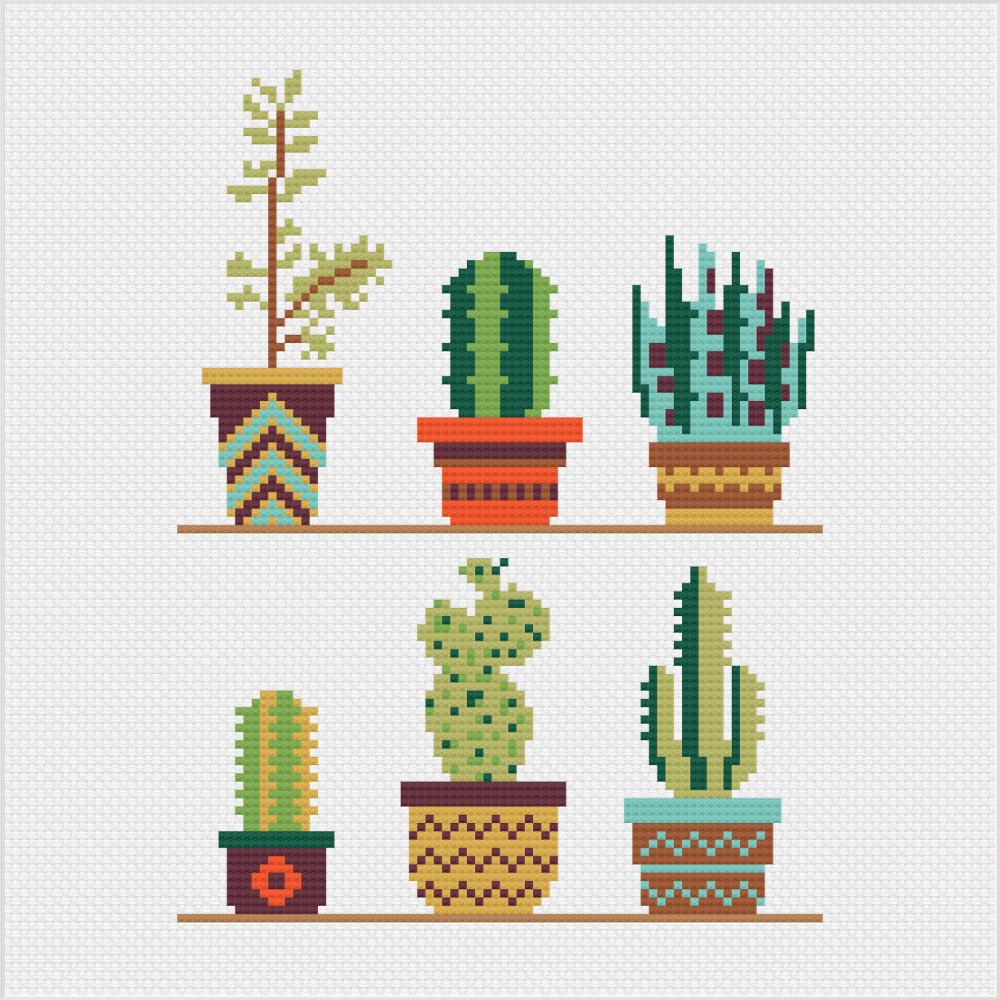 Meloca Cross Stitch Kit Designs: Cactus Cross Stitch Full Kit #1